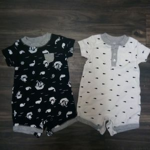 Two modern nautical themed onesies